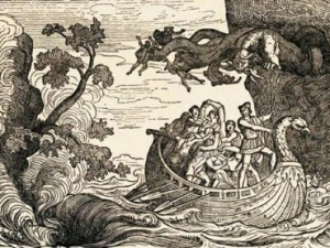 The perilous trip of the ship of Ulysses between Scylla and Charybdis.